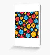 Bright floral print on a black background Greeting Card