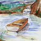 Lake Boat by Falls by DarkRubyMoon