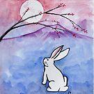 Moon over white rabbit by DarkRubyMoon