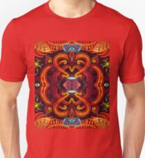 Abstract psychedelic pattern. Luminous insects. Fantastic tentacles of an octopus. T-Shirt