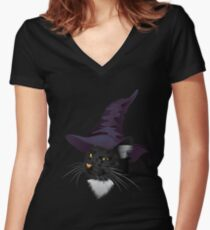 Kitty Witchy Women's Fitted V-Neck T-Shirt
