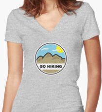 Go Hiking Women's Fitted V-Neck T-Shirt