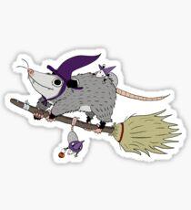 Halloween Opossum Witch Sticker