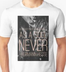 Herman Hesse Quote on Lonliness Double Exposure Black and White Pink Typography T-Shirt