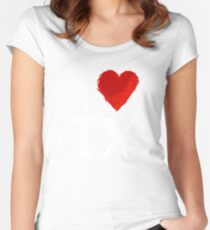 I Heart Texas (wht, remix) by Tai's Tees Women's Fitted Scoop T-Shirt