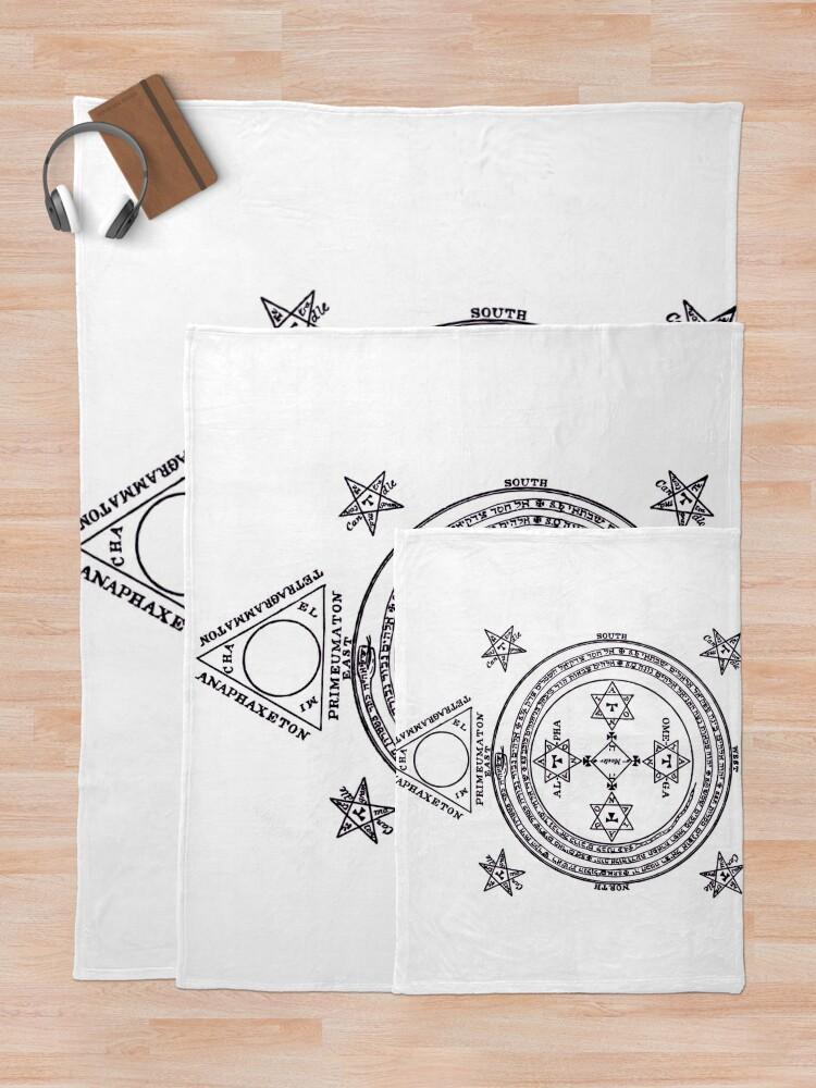 Alternate view of Solomon Circle Goetia Black n White Throw Blanket