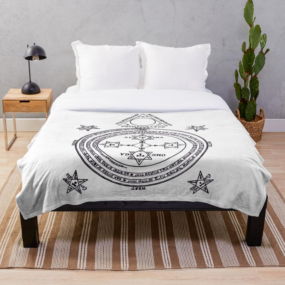 Solomon Circle Goetia Black n White Throw Blanket