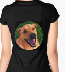 Smiling Dog Portrait Women's Fitted Scoop T-Shirt