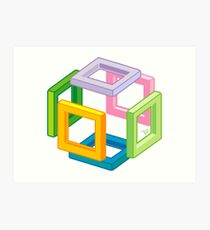 Expanding Necker Cube by Tai's Tees Art Print