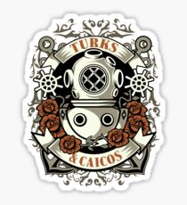 Old School Turks and Caicos Diver Sticker