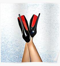 Christian Louboutin Sexy High Heel Red Bottoms Heels nach oben Poster