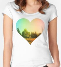 Heart Landscape Tree Forest Park Leaf Grass Plant Natural Summer Outdoor Women's Fitted Scoop T-Shirt