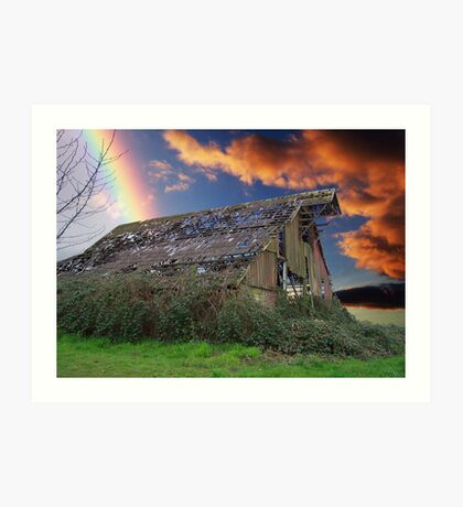 Rainbow Over Ruins Art Print