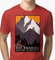 Vintage See America Montana Travel Poster Tri-blend T-Shirt