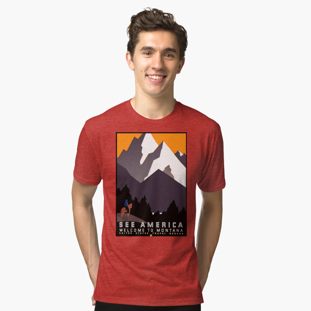 Vintage See America Montana Travel Poster Tri-blend T-Shirt Front