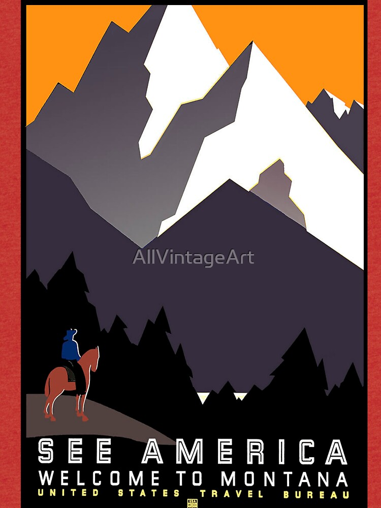 Vintage See America Montana Travel Poster by AllVintageArt