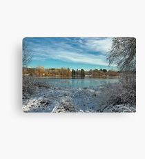 Winter landscape on the Deer Lake Park Canvas Print