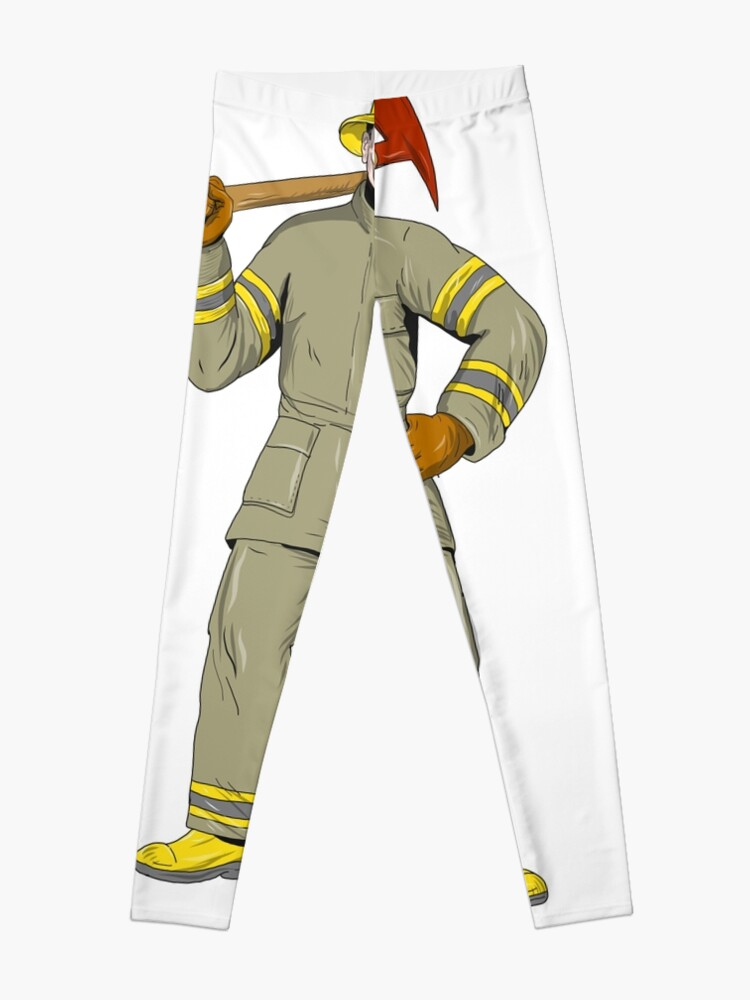 American Firefighter Fire Axe Drawing | Leggings