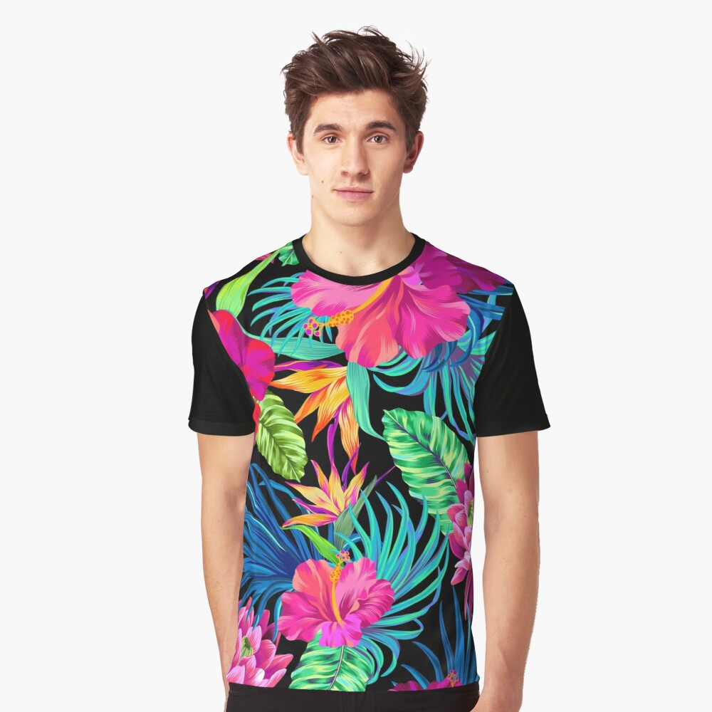 Fahren Sie Mad Hibiscus Pattern Grafik T-Shirt