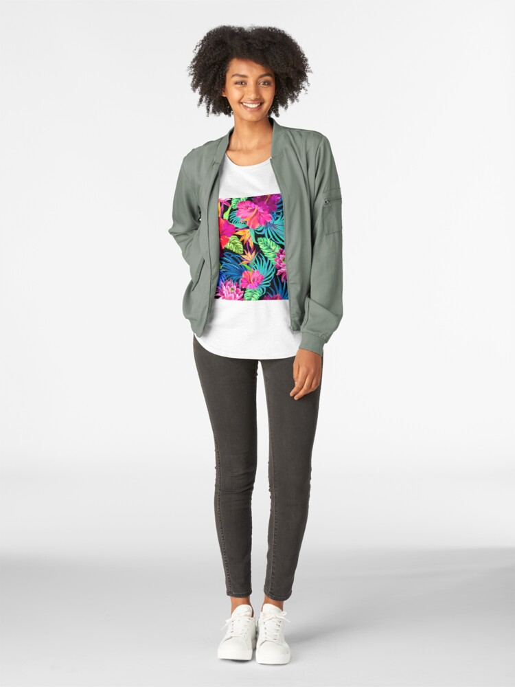 Alternate view of Drive You Mad Hibiscus Pattern Premium Scoop T-Shirt