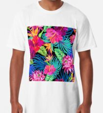 Drive You Mad Hibiscus Pattern Long T-Shirt
