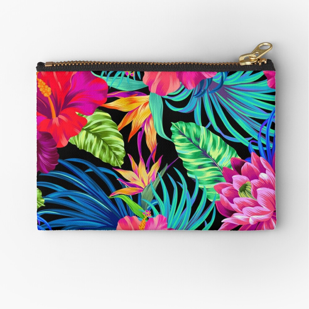 Drive You Mad Hibiscus Pattern Zipper Pouch