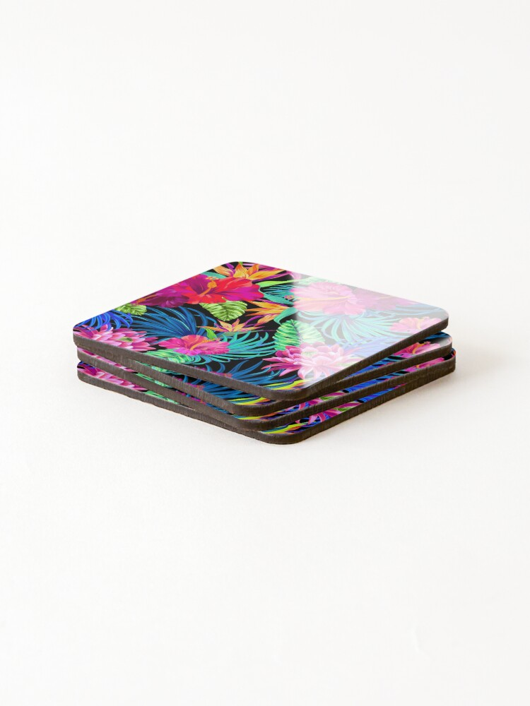 Alternate view of Drive You Mad Hibiscus Pattern Coasters (Set of 4)