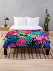 Drive You Mad Hibiscus Pattern Throw Blanket