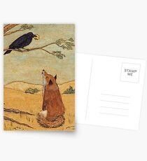Aesops Fable the Fox and Crow Postcards