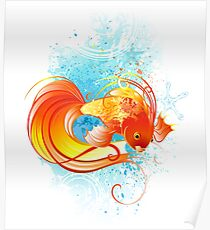 Red Fish illustration on white background Poster