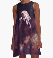 Shooting Stars - der Astronautenkünstler A-Linien Kleid