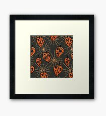Orange Leaves With Holes And Spiderwebs Framed Print