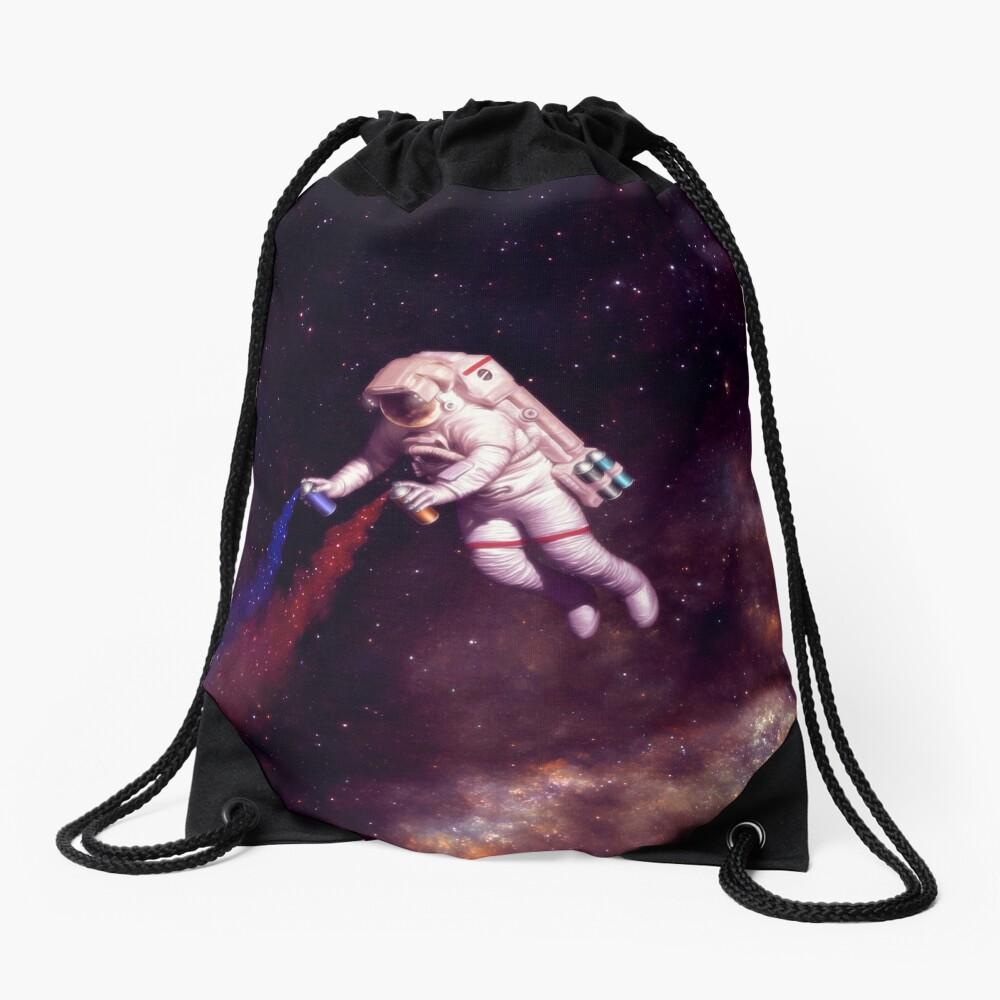 Shooting Stars - the astronaut artist Drawstring Bag