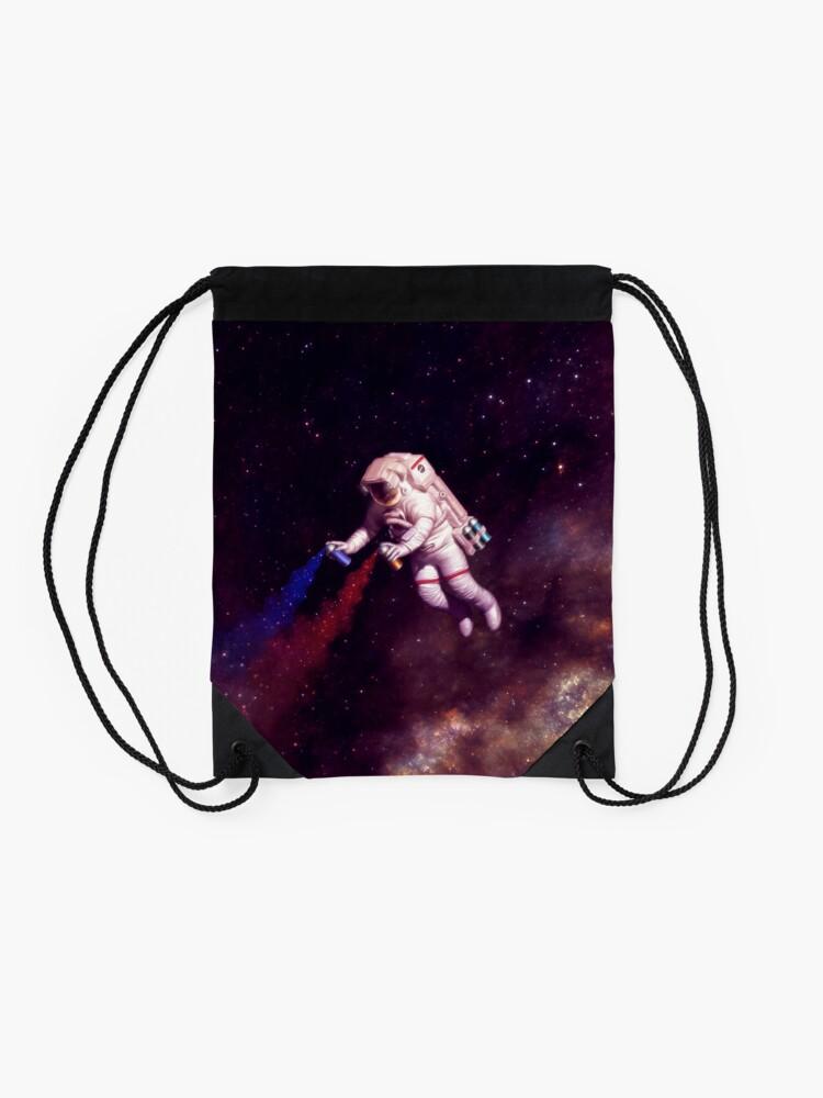 Alternate view of Shooting Stars - the astronaut artist Drawstring Bag