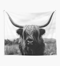 Scottish Highland Cattle - Black and White Animal Photography Wall Tapestry