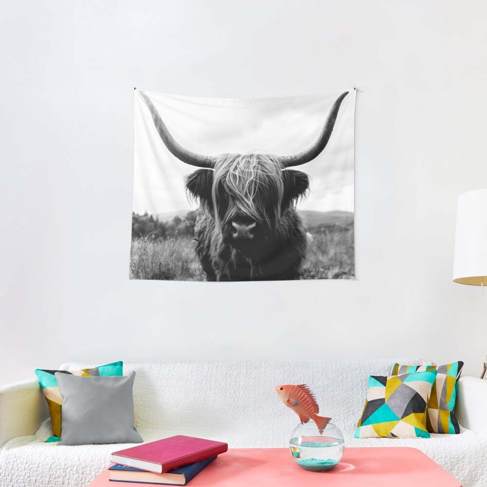 Scottish Highland Cattle - Black and White Animal Photography Tapestry