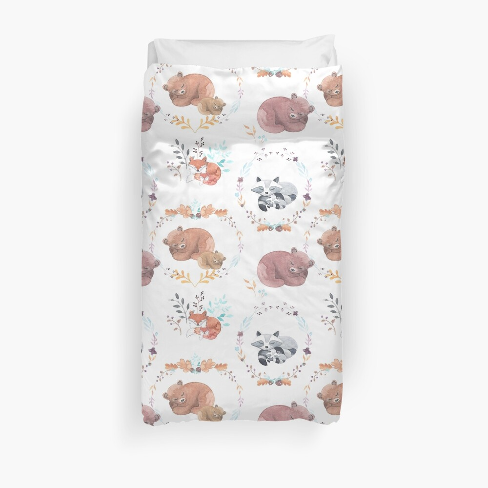 Sleepy Woodland Animals Duvet Cover