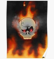 Flame Skull Toon Poster