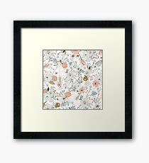 Abstract modern coral white pastel rustic floral  Framed Print