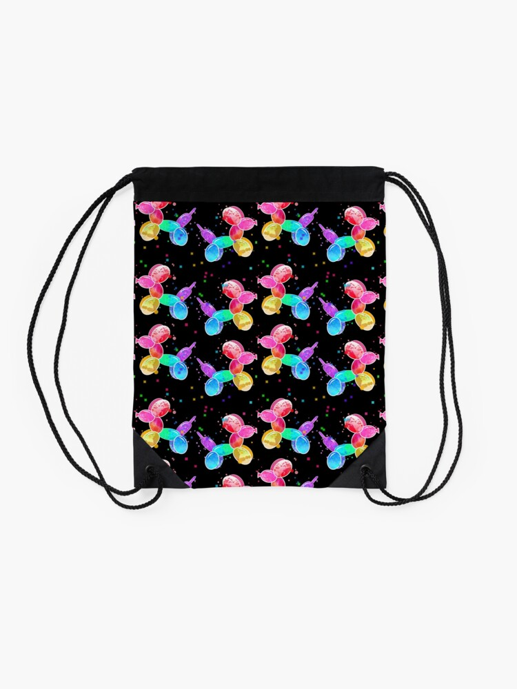 Alternate view of Watercolor Balloon Dogs on black Drawstring Bag