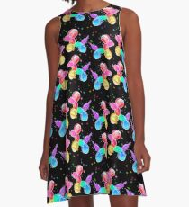 Watercolor Balloon Dogs on black A-Line Dress