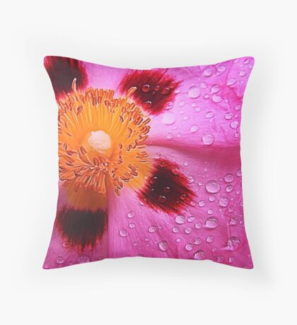 Water drops on pink Throw Pillow