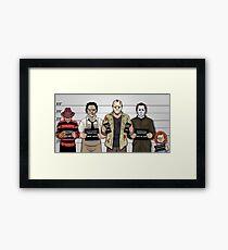 Horror Collage Funny Killer Mugshot Framed Print