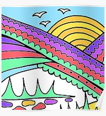 Doodle Art Rainbows Sun Birds - Purple Blue Poster