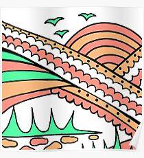 Doodle Art Rainbows Sun Birds - Red Green Poster