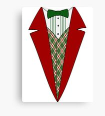 Funny Christmas Tuxedo, Red and Green Tux Canvas Print