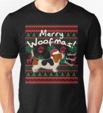 Camiseta unisex Basset Hound Merry Woofmas, Ugly Christmas Sweater