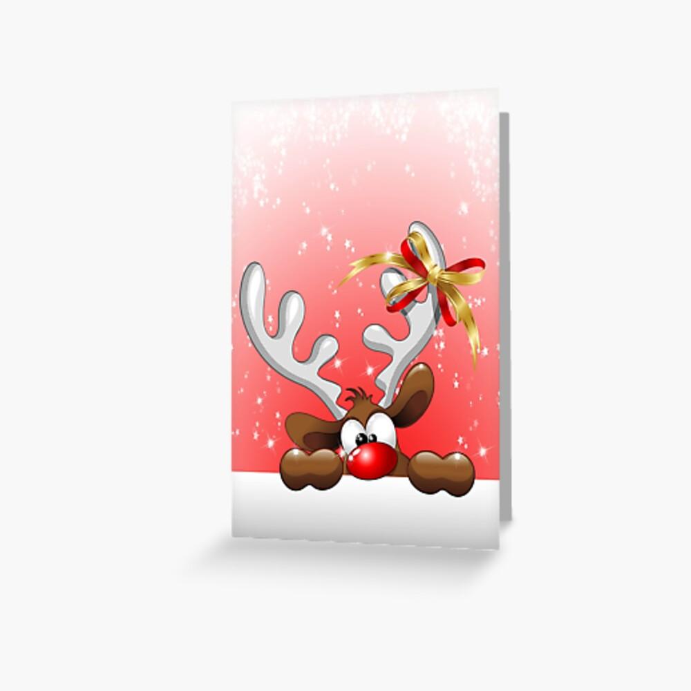 Lustiger Weihnachtsren-Cartoon Grußkarte