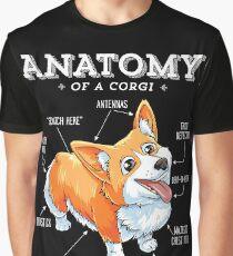 Camiseta gráfica Anatomía de una camiseta de Corgi Camisa divertida del perrito del perro de Corgis