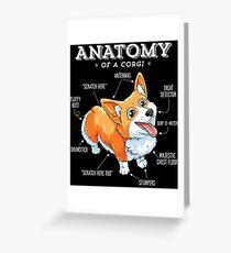 Anatomie eines Corgi-T-Shirts Lustiges Corgis-Hundewelpen-Shirt Grußkarte
